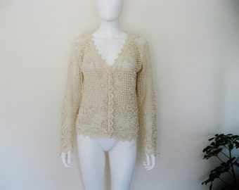 ON SALE Semi Sheer Creme Cotton Crochet / Knit Cardigan Sweater