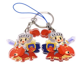 Dragon Knight Keychain, Dragon Knight Phone Charm, chibi, kawaii charm, cute knight, cute dragon, kawaii characters, anime gift, anime lover
