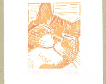 Happy Ginger Cat print - Linocut Original hand-pulled Relief Print