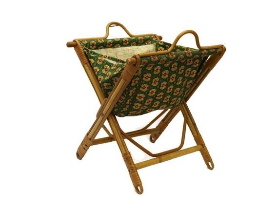 Vintage Folding Knitting Basket : Folding knitting basket sewing french laundry