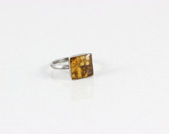 Sterling Silver Amber Ring Flower Ring size 5 1/2