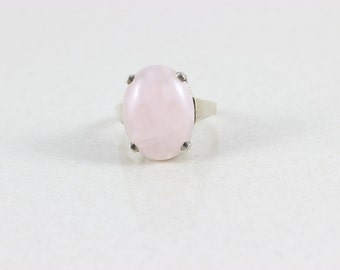 Sterling Silver Large Rose Quartz Ring size 8 1/4