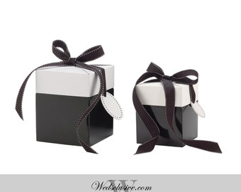 10 Classy Black Favor Boxes , Gift Boxes, Black and White with Ribbon