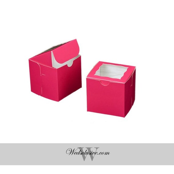 Black Treat Favor Boxes : Pink cupcake boxes window favor wedding treat by