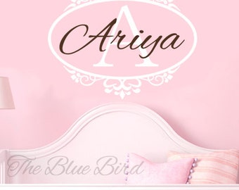 Personalized Name Wall Decal - monogram decal - baby name decal - Vinyl Wall Decal for Girl Baby Nursery Girls Room Wall Art FG020