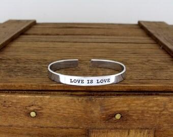 Love Is Love Equality Bracelet - Gay Pride - Aluminum Adjustable Bracelet