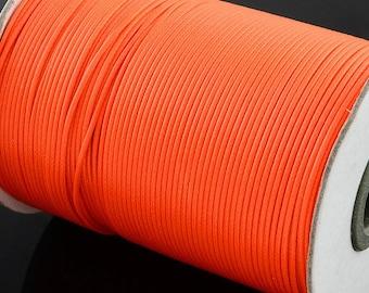 Neon Orange Waxed Cord - 10 yards - 1mm Polyester Wax  cord -  Fluorescent Macrame Braiding Cord - W170