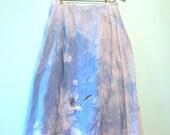 Vintage Skirt, Seagull Skirt, Tie Dye Skirt, Blue Skirt, Gray Skirt, Blue Tie Dye Skirt, Vintage Blue Skirt, Midi Skirt, Blue & Gray,Seagull