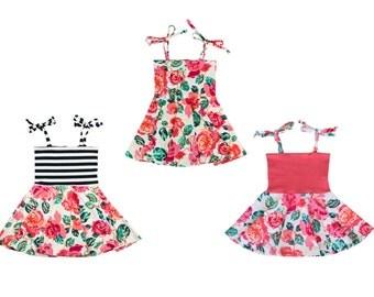 Circle Skirt Dress, Girls Dress, Baby Dress, Toddler Dress, Beach Dress, Summer Dress, Skater Dress, Twirling Dress, Pixelated Rose Dress