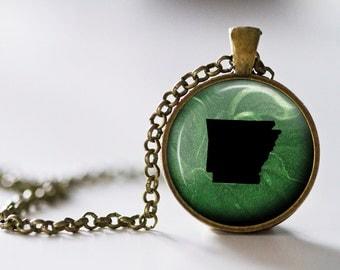 Arkansas Pendant Necklace - Arkansas Jewelry - State Pendant - State Necklace - State Jewelry