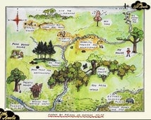 Winnie the Pooh Wall Art, Hundred Acre Wood Map, 100 Acre Woods Wall Map Print, Nursery Décor, Pooh,Tiger, Piglet : With or Without Mount