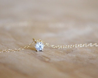 Tiny Round CZ Charm Necklace - 14k Gold Filled Necklace - Diamond Alternative - Tiny Necklace - Gold Charm - Bridal Necklace - Simple Thin
