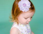 Flower Hair Clip, Baby Headband, Girl Flower Clip, Newborn Headband, Girls Hair Bow, Quatrefoil print, lavender flower, flower bow headband