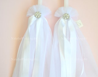 Mariage Lampathes orthodoxe bougies grec mariage Lambades blanc ou ivoire avec tulle et plaqué argent broches