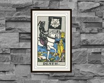 Death XIII Rider-Waite-Smith Tarot Card Deck Vintage Retro 1910 Art Reproduction Print Poster Small Medium