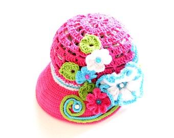 Crochet Newsboy Hat Pattern, Crochet Newsboy Cap Pattern, Crochet Girls Hat Pattern, Crochet Summer Hat Pattern, Crochet Sun Hat Pattern
