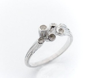Sterling silver anemone ring - stackable ring - silver ring - underwater feel - jewelry - JustineQuintal