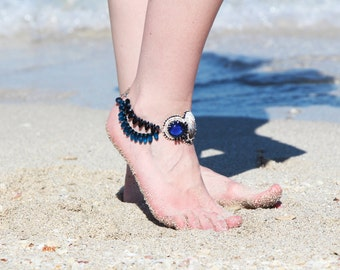 Anklet beach jewelry/ anklet cuff/ shell jewelry/ shell accessories/ foot bracelet/ beach anklet/ blue anklet/ ankle jewelry/ women anklets
