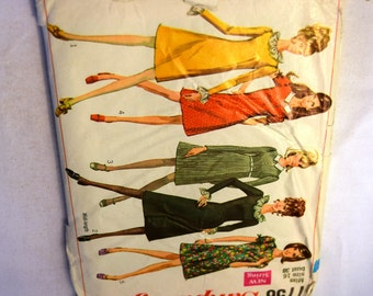 Vintage 1960s Simplicity 7756 narrow shoulder close to the body fit A line dress in 2 lengths sewing pattern