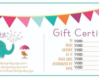 Gift certificate card to Designs By Raja