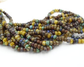 2/0 Caribbean Blues Czech Glass Picasso Seed Bead Mix - 10 Inch Strand