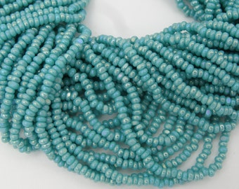 Czech Glass 11/0 Charlotte Seed Beads Green Turquoise AB 1 Hank (6 Strands)