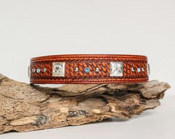 Hand Stamped Leather Dog Collar w/ Silver & Rhinestones
