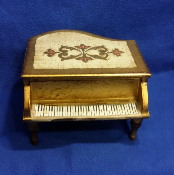florentine tole wood piano musical jewelry box
