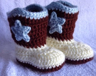 Crochet Baby Cowboy Boots, Newborn Cowboy Boots, Baby Gift