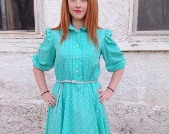 Vintage Avon Fashions Teal Dress, White Dots Teal Dress, White Dotted Dress, Teal Dress, Half Sleeves Dress, Cotton Dress, 1980s Avon Dress