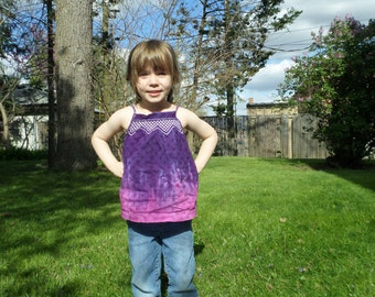 Girls Upcycled Hand Dyed Embroidered Tank Top, Purple and Razzle Dazzle Ombre Top