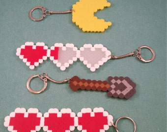 Minecraft shovel keychain, Video Game perler bead art keychains, Pac Man keychain, Heart meter keychain, SNES Zelda heart, 8 bit keychain