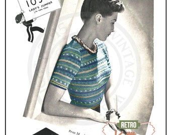 1940s Emboidered Sweater Vintage Knitting Pattern - Instant Download - PDF