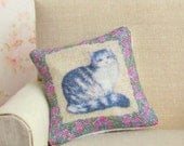 Dollhouse Miniature, Cat Cushion, Dolls House Pillow, Floral Accessory, Animal Decor, Shabby Cottage Chic, 1:12th Scale