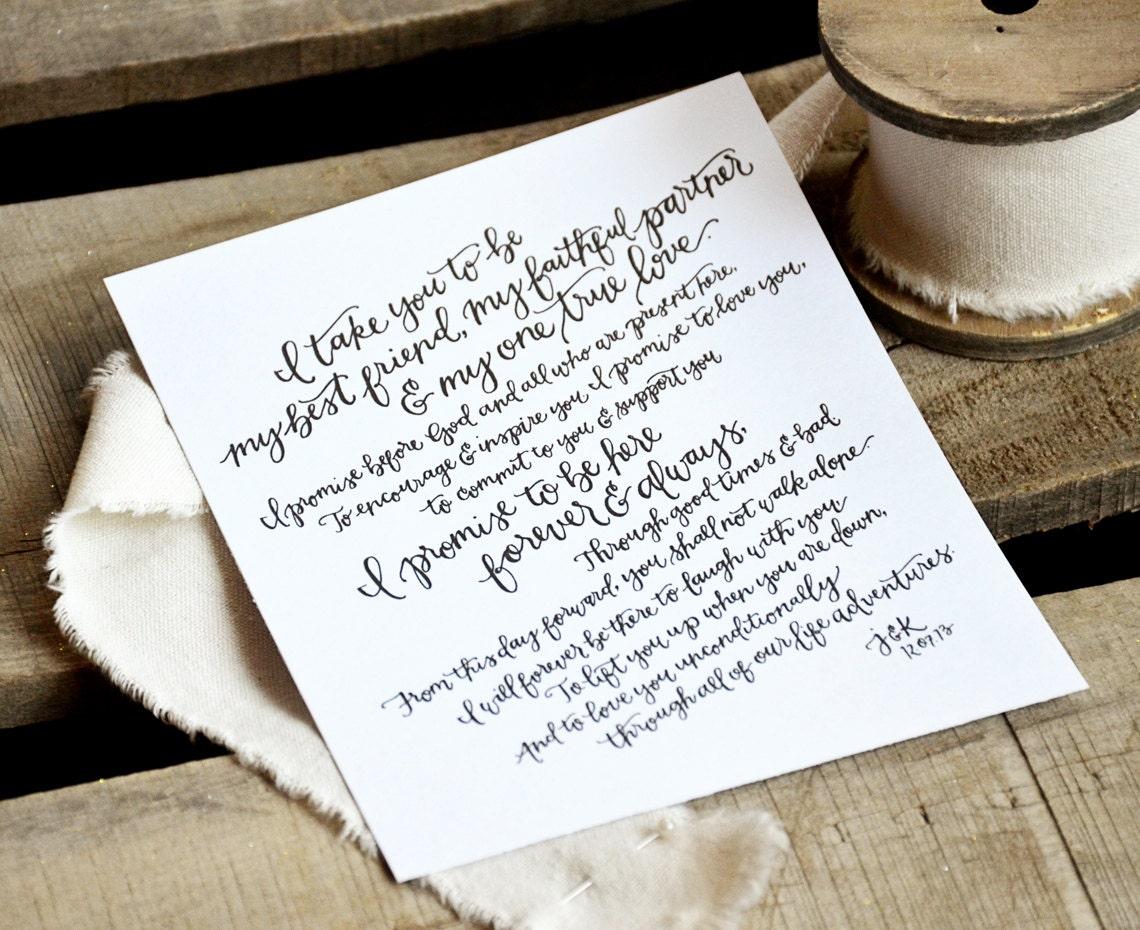 Wedding Vows Gift: Wedding Vow Art Printable. Wedding Vow Keepsake. Hand Lettered