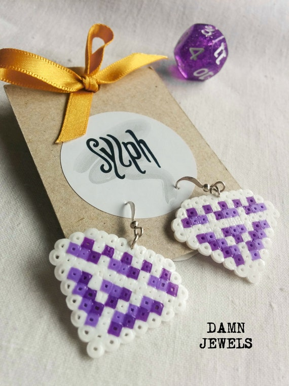 Pixelated 8bit crystal shaped Damn Jewels dangle earrings in shades of purple and white