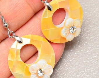 26mm  Sunny Yellow, Mother of Pearl Shell Earrings with Rhinestone Flowers  18k White Gold Earrings