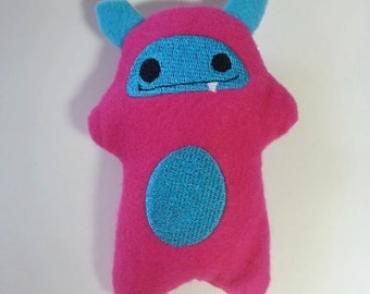 "Pink Felt Embroidered Mini Monster with Fleece Horns ""Beanie"""
