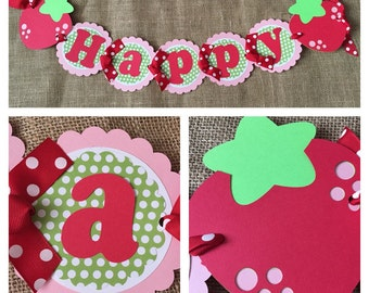 Strawberry Birthday Banner, Strawberry Party Banner, Strawberry Party Decor, Strawberry Name Banner