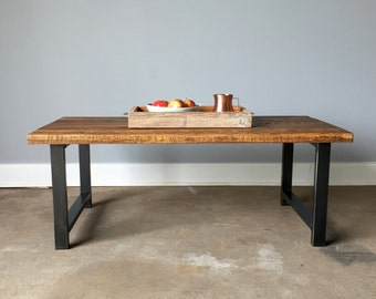 Reclaimed Wood Coffee Table / Industrial H-Shaped Steel Legs