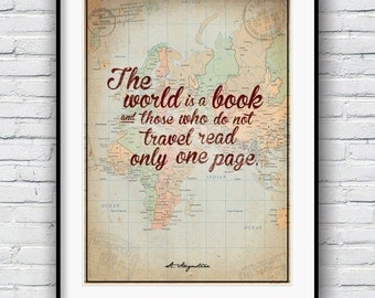 Travel poster, Map poster, St Augustine,  quote poster, wall art, inspirational quote, motivational wall decor, literary print, library art