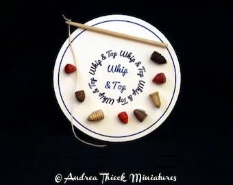 Vintage Whip and Top - Artisan Handmade Miniature - OOAK - choose one