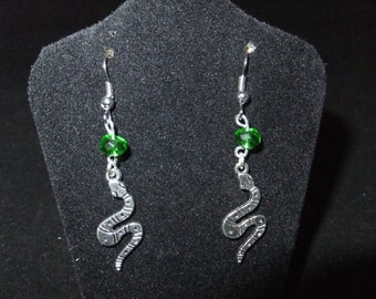 Green & Silver Slytherin Earrings - S1 - Great Gift for Fans of the Books or Movies!