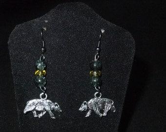 Yellow & Black Hufflepuff Earrings - H5