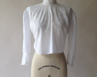 Antique Victorian cotton eyelet lace and pin tuck blouse / S / M