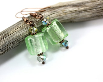 Green Lampwork Earrings, Lampwork Earrings, Green Lampwork Beads, Green Glass Earrings, Green Crystal Earrings, Green Square Earrings
