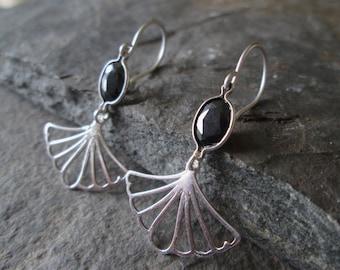 Art Deco Earrings - Drop Earrings, 30s Jewellery, Deco Style, Black Gemstone, Silver Earrings, Gift Jewelry