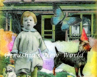 Comforts of Home - ACEO,  Watercolor, Collage, Mixed Media, Miniature Art, Print