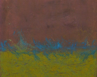 Original Abstract Oil + Cold Wax Painting Yellow Green Plum Blue Moss Landscape Color Field Night Texture Earthy Expressionist 24 x 24