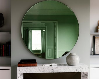 "Green Deco mirror.  27"" diameter round Art Deco Inspired green Wall Mirror. 1920s and 30s inspired furniture."